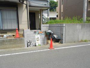 ブロック工事施工中