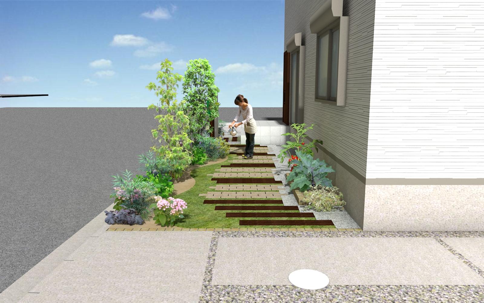 レンガ&枕木舗装イメージ・CAD