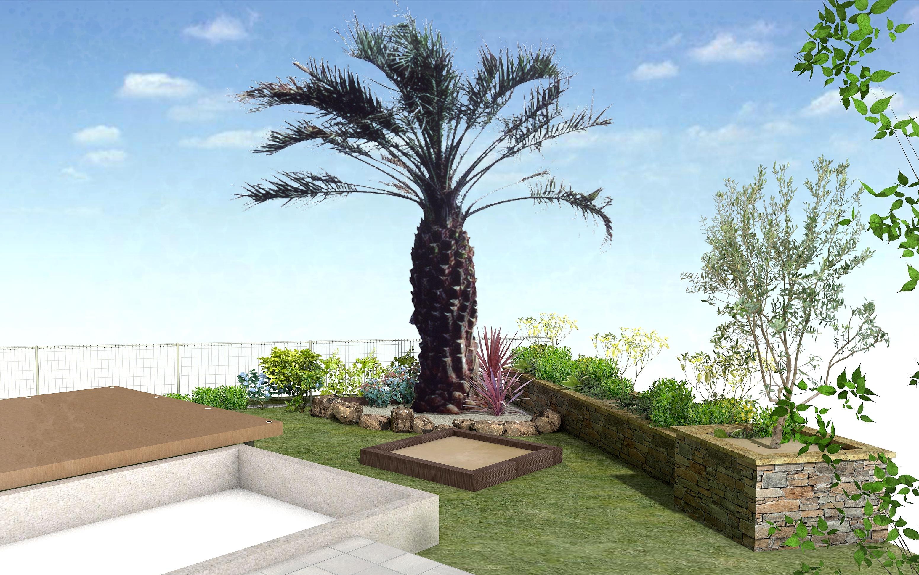 お庭の工事 ココスヤシ 花壇